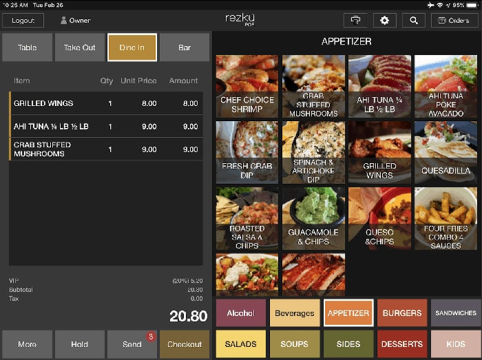 Rezku iPad POS Screenshot