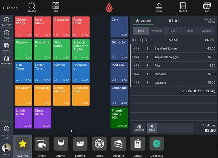 Lightspeed Restaurant Menu Example on iPad