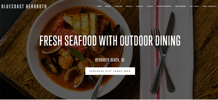 Bluecoast Rehoboth Seafood Website Delaware