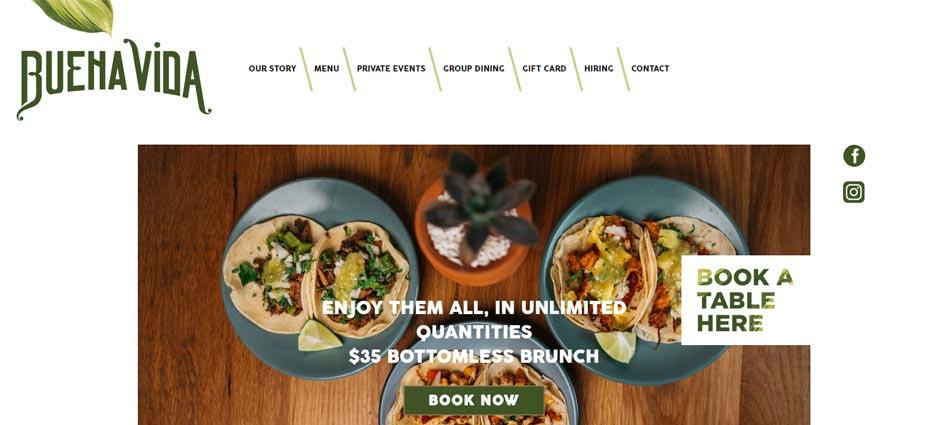 Buena Vida Restaurant Marlyand Homepage