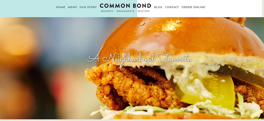 Common Bond Cafe Website Example - Houston Texas