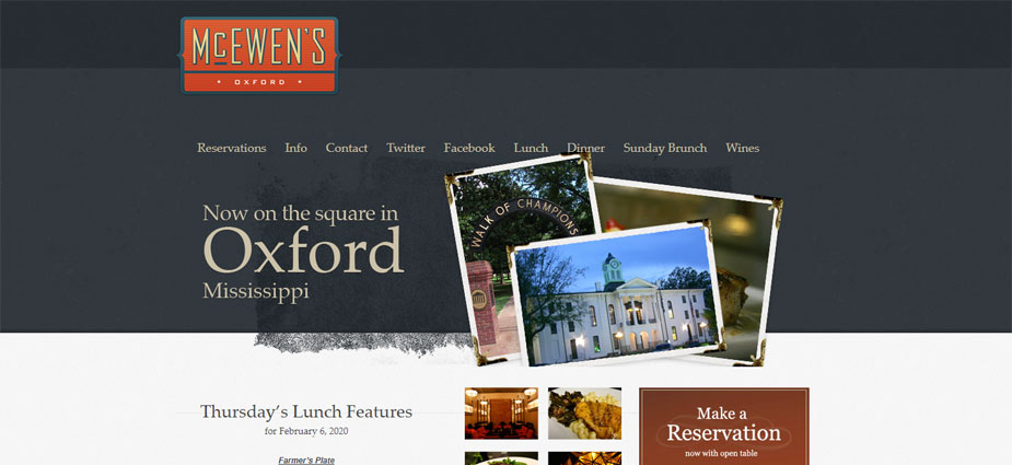McEwens Southern Restaurant Website Oxford Mississippi