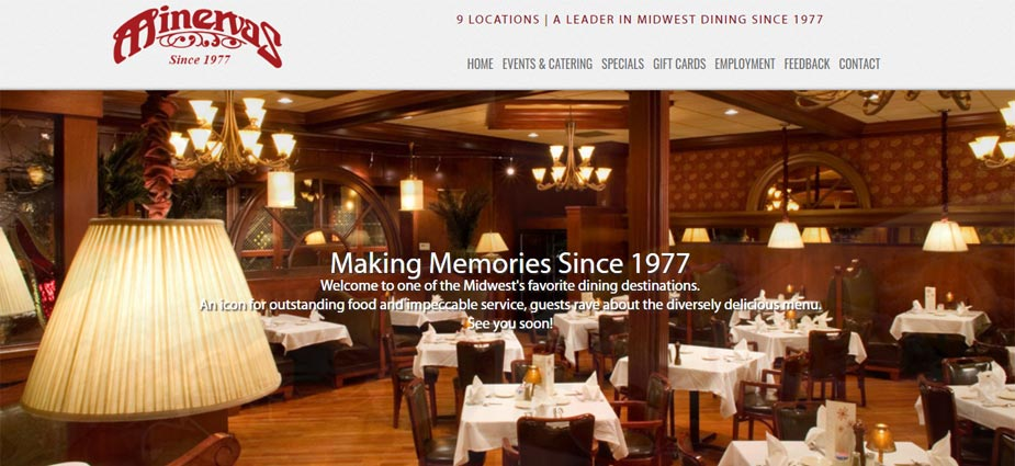 Minervas Restaurant Webpage - Sioux Falls South Dakota