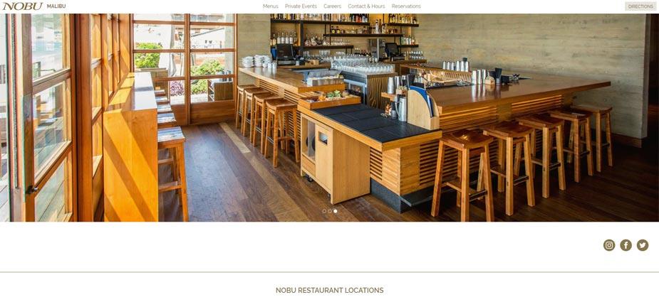 Nobu Fine Dining Web Page Malibu California