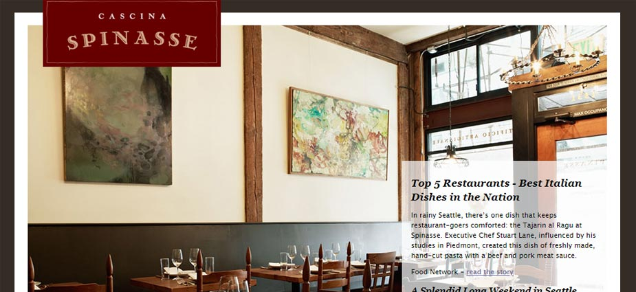 Spinasse Italian Restaurant Website Example - Washington