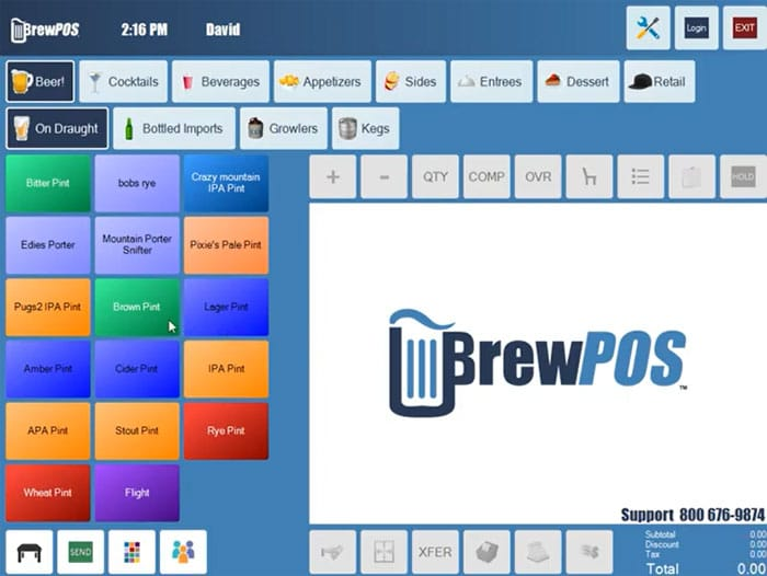 BrewPOS Menu Screen